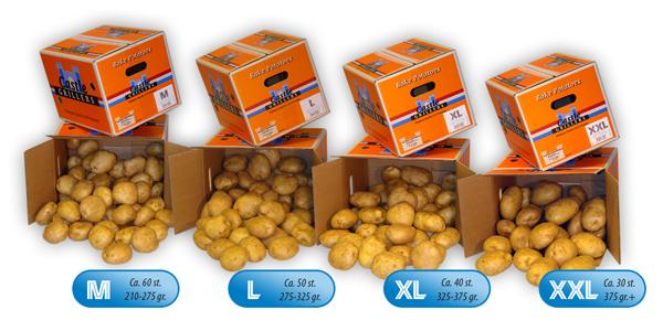 Castle Grillers: pofaardappelen (baking potatoes) in doos of baal