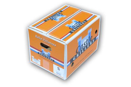 Castle Grillers in doos: pofaardappelen, gesorteerd op gewicht